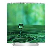 Water Drop Green Shower Curtain