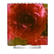 Water Droplets Beautiful Flowers Shower Curtain