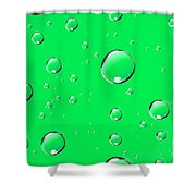Water Drops On Green Shower Curtain