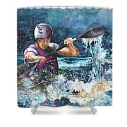 Water Fight Shower Curtain by Miki De Goodaboom