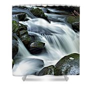 Water Flowsthrough The Mountains Shower Curtain