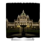 Water Fountain By Parliament Buildings In Victoria Bc Shower Curtain