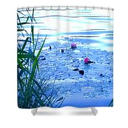 Water Lilies Blue Shower Curtain