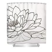 Water Lily Line Drawing Shower Curtain