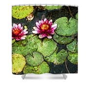 Water Lily Water Color Shower Curtain