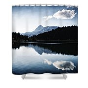 Water Reflection Blue Black And White Shower Curtain