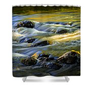 Beautiful Water Reflections On The Flowing Thornapple River Shower Curtain