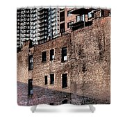 Water Tower With Cityscape Shower Curtain