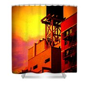 Water Tower With Orange Sunset Shower Curtain