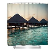 Waterbungalows At Sunset Shower Curtain