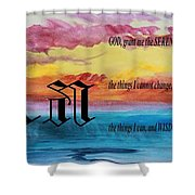 Watercolor A And Serenity Prayer Shower Curtain