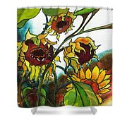Sunflowers On The Rise Shower Curtain