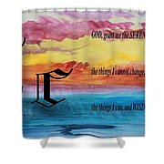 Watercolor C And Serenity Prayer Shower Curtain