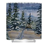Original Watercolor - Colorado Winter Pines Shower Curtain