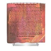 Watercolor Desiderata On Fuchsia Strokes Shower Curtain