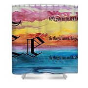 Watercolor E And Serenity Prayer Shower Curtain