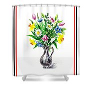 Watercolor Flowers Bouquet In Metal Pitcher Impressionism Shower Curtain