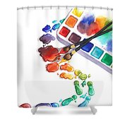 Watercolor Footprints Shower Curtain