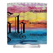 Watercolor H And Serenity Prayer Shower Curtain