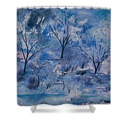 Watercolor - Icy Winter Landscape Shower Curtain