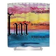Watercolor M And Serenity Prayer Shower Curtain