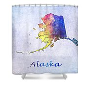 Watercolor Map Of Alaska      United States Shower Curtain