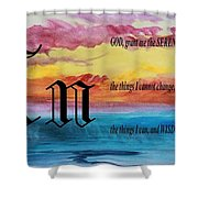 Watercolor N And Serenity Prayer Shower Curtain