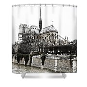 Watercolor Notre Dame Shower Curtain