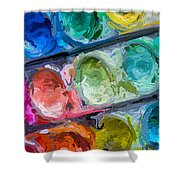 Watercolor Ovals Two Shower Curtain