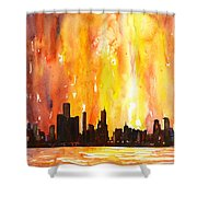 Watercolor Painting Of Skycrapers Of Downtown Chicago As Viewed  Shower Curtain