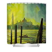 Watercolor Painting Of The Dome Of San Giorgio Maggiore Church I Shower Curtain