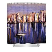 Watercolor Painting Of Vancouver Skyline Shower Curtain