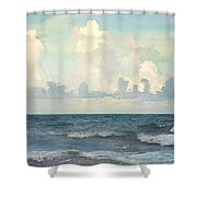 Watercolor Photograph Of Atlantic Ocean Shower Curtain