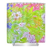 Bouquet Of Flowers Watercolor Photography Shower Curtain