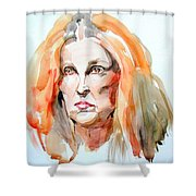 Watercolor Portrait Of A Mad Redhead Shower Curtain