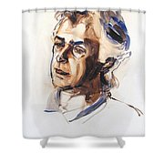 Watercolor Portrait Sketch Of A Man In Monochrome Shower Curtain