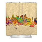 Watercolor Skyline Of Las Vegas Nevada  Usa Shower Curtain
