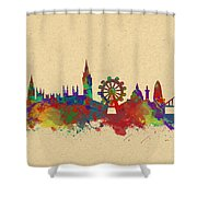 Watercolor Skyline Of London Shower Curtain