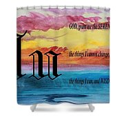 Watercolor U And Serenity Prayer Shower Curtain