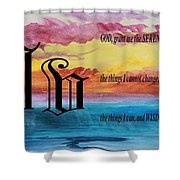 Watercolor V And Serenity Prayer Shower Curtain