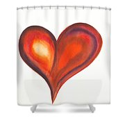 Watercolour Painting Of Colorful Abstract Heart Shower Curtain