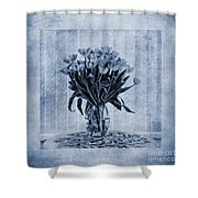 Watercolour Tulips In Blue Shower Curtain