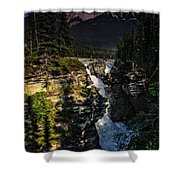 Waterfall And Mountain In Jasper Shower Curtain