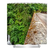 Waterfall And Old Road Shower Curtain
