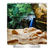 Waterfall At Cliff Side Shower Curtain