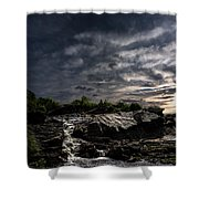 Waterfall At Sunrise Shower Curtain by Bob Orsillo
