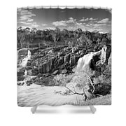 Waterfall Black And White Shower Curtain