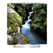 Waterfall, Glacier National Park Shower Curtain