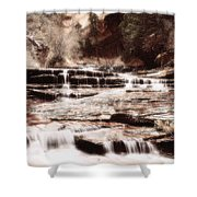 Waterfall In Sepia Shower Curtain