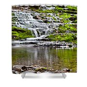 Waterfall In The Forest In Autumn Season  Shower Curtain